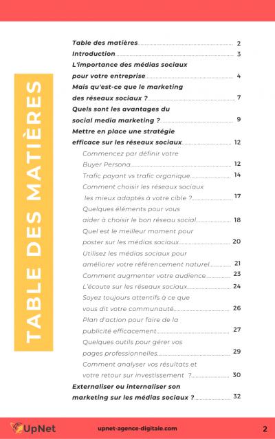 table des matières ebook réseaux sociaux